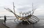 Sun Voyager is a metal sculpture by Jón Gunnar Árnason (1931 - 1989) sitting along the waterfront in Reykjavik, Iceland.