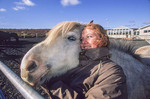 Icelandic woman with her Icelandic horse.