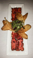 Smoked elk carpaccio with home made potato chips at Rupert's, Hotel McCall, Idaho.