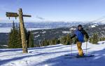 Skiing Brundage Mountain near McCall, Idaho.