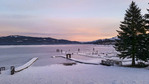 Colorful dawn at the shore of Payette Lake, McCall, Idaho, USA.