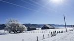 Winter scene of a farm in central Idaho.