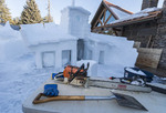Shipwreck snow sculpture created for McCall's winter carnival, McCall, Idaho.