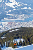 View of Revelstoke town, the valley, Columbia River and Monashees Mountains from the top of Revelstoke ski slope.