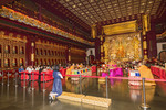 Buddhist ceremony in Buddha Tooth Relic Temple in Singapore's Chinatown district.