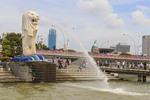Famous Merlion statue along the Singapore River.