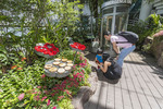 Family enjoys Butterfly Garden in Changi, Singapore's international airport.