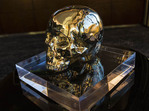 Skull glass sculpture.