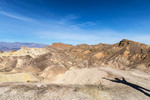 View from Death Valley's famous Zabriskie Point of surrounding desert hills.