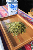 Fresh green tea at Meijiawu Tea Village in Hangzhou, China
