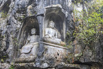 Buddha statues carved into hillside at Lingyin Temple in Hangzhou, China.