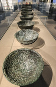 Nine bowls carved 300 years ago during the Qian Dynasty from a single piece of jade On disiplay at Zhen Qi Hui Art Center in Hangzhou, China, largest private museum in China with 5,000 show pieces from China's 5,000 plus years of history.