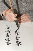 Calligrapher writing Chinese symbols on scroll at Zhen Qi Hui Art Center in Hangzhou, China