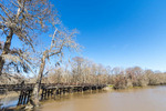 Lorrain Bridge in Hayes, LA, an old historic wooden bridge