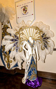 Costumes worn by krewe royalty during Mardi Gras in Lake Charles, LA. on display in the Lake Charles Mardi Gras Museum.