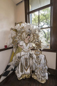 Costumes worn by krewe royalty during Mardi Gras in Lake Charles, LA, displayed in the Lake Charles Mardi Gras Museum.