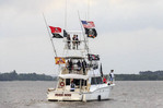 Boat outfitted with pirate flags during Contraband Days in Lake Charles, Louisiana.