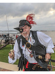 Snarling pirate during Contraband Days in Lake Charles, Louisiana, celebrating the days of pirate Jean Lafitte.