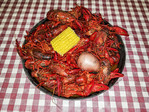 A platter of crawdads. They're a lot of work but worth it. Lake Charles, Louisiana.