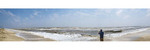 Panorama view of rough surf during a windy day at Rutherford Beach on the Gulf of Mexico coast in Louisiana.