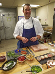 Executive Chef Mark Bodinet prepares food for dinner at Cedarbrook Lodge's gourmet Copperleaf restaurant.