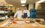 Chef Roy Breiman, culinary director for Copperleaf Restaurant and Executive Chef Mark Bodinet at Cedarbrook Lodge in the Seattle. Preparing dinner at Cofferleaf.