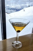 Ice wine martini at Eagle Eye Restaurant atop Kicking Horse ski resort in Golden, BC.
