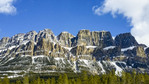 View of rugged Castle Mountain near Banff, seen along the Trans Canada Hwy in the Banff, Alberta area.