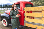 Farm tour using antique 1952 Mercury 1 ton truck at Covert Farms in the southern Okanagan Valley of BC, Canada.