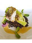 Typical appetizer at Backyard Farm in the Okanagan Valley of BC, Canada. Sablefish over baby romaine with lentils