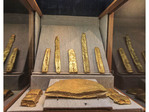 Gold bars and ingots from the shipwreck of the Atocha on display at Mel Fisher Maritime Museum in Key West, Florida.