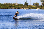Kiteboarding and wakeboarding by cable at Keys Cable Park on Grassy Key in the Florida Keys.