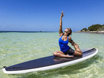 Yoga on a stand up paddle board, taught at Bahia Honda State Park along the Florida Keys
