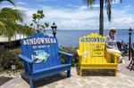 Cool beach chairs on the deck of Sundowners, a popular fish restaurant on Key Largo in the Florida Keys.