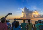 Crazy, joyous sunset celebration scene nightly at Mallory Square in Key West.