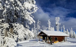 Skiing Brundage Mountain near McCall, ID, USA. Ski patrol cabin.