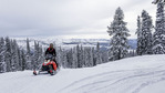 Snowmobiling through the woods on the way to Burgdorf Hot Springs outside McCall, ID.