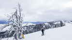 Skiing at Tamarack Resort outside Donnelly near McCall, ID. View from the top with frost covered trees.