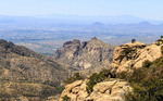 Visitors take selfie from a rock at Windy Point, along the road up Mount Lemmon in southern Arizona.