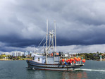 Commercial fishing boat Nordic Rand off Vancouver Island, BC, Canada, fishing for prawns