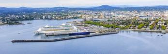 Explorer Seas cruise ship docked at Victoria Harbour. Victoria, BC, Canada.