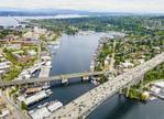 Interstate 5 and the Ballard Bridge in Seattle seen from the air, WA, USA.
