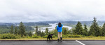 View of the Columbia River from parking lot at the Astoria Column in Oregon, USA.