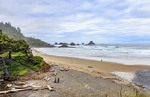 View of the beach from Indian Beach Trailhead, the start of the Clatsop Loop trail at Ecola State Park in Oregon, USA.