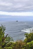 The lighthouse off the beach, viewed from the Clatsop Loop Trail in Ecola State Park, Oregon, USA