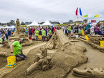Sandcastle Contest along Cannon Beach in Oregon, USA.