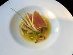 Tuna aburi ... a cross between sashimi and grilled...raw with seared edges. With avocado in miso broth.