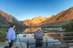 Photographing Convict Lake near Mammoth Lakes, California, at dawn. It REALLY is this color at dawn.