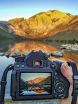 Photographing Convict Lake with an SLR camera near Mammoth Lakes, California at dawn. It REALLY is this color at dawn.