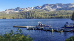 Dock at Lake Mary near the town of Mammoth Lakes, CA. Late afternoon.